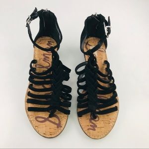 Sam Edelman Dakota Black Suede Gladiator Sandals